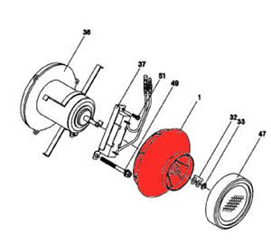 1) Fresh air blower assembly
