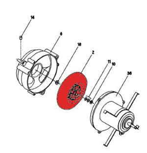 2) Combustion air blower